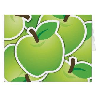 Manzanas verdes enrrolladas tarjeta de felicitación grande