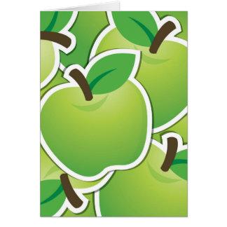 Manzanas verdes enrrolladas tarjeta pequeña