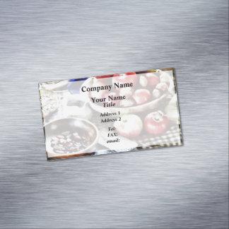Manzanas y nueces tarjeta de visita magnética