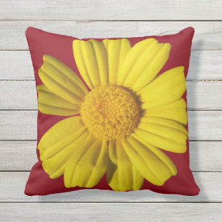 Manzanilla amarilla soleada cojín decorativo