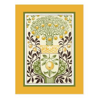Manzano Retro en oro y verde Tarjeta Postal