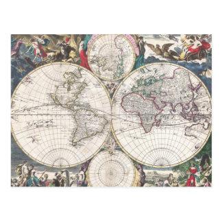 Mapa 1685 de Bormeester del mundo Postal