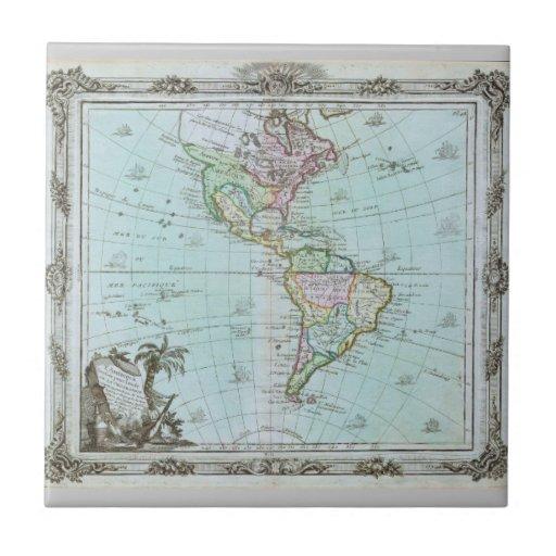 Mapa 1764 de las Américas de Louis Brión de la Tou Azulejo Ceramica