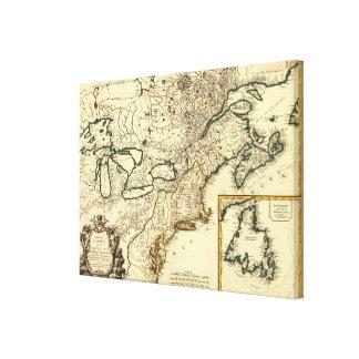 Mapa 1778 de Canadá y de los Estados Unidos Lona Estirada Galerias