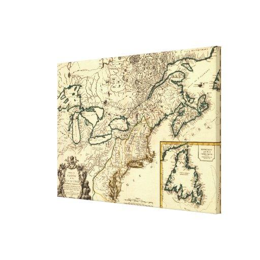 Mapa 1778 de Canadá y de los Estados Unidos Impresión En Lienzo Estirada