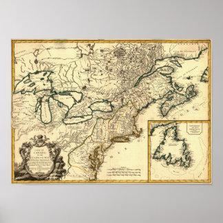 Mapa 1778 de Canadá y de los Estados Unidos Poster