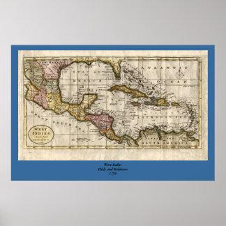 Mapa 1790 de las Antillas del fenómeno y de Robins Impresiones