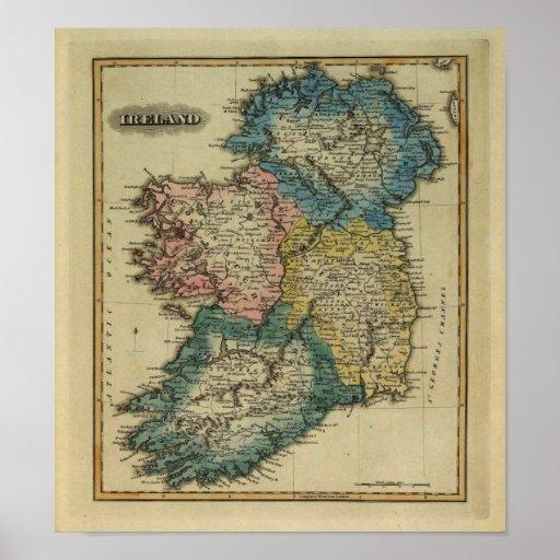 Mapa 1823 de Irlanda por el JR que coloca de Lucas Posters