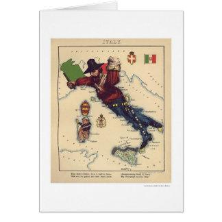 Mapa 1868 de la caricatura de Italia Tarjeta De Felicitación