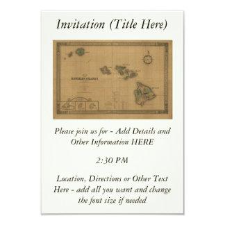 Mapa 1876 - islas hawaianas de Hawaii del vintage Invitación 8,9 X 12,7 Cm