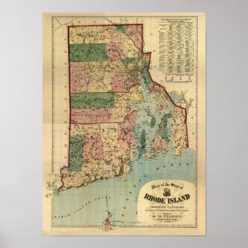 Mapa 1880 de Rhode Island del vintage Impresiones