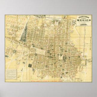 Mapa 1889 de Ciudad de México Póster