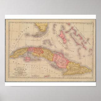 Mapa 1897 de Cuba Póster