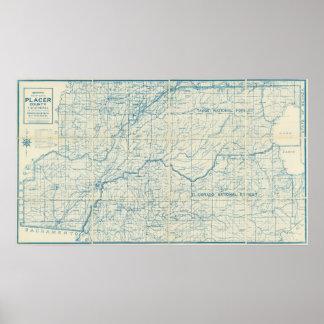 Mapa 1916 del país del placer, California Póster