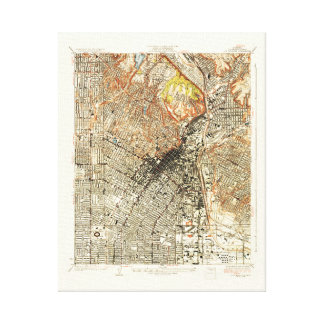Mapa 1928 de Los Ángeles Impresiones De Lienzo