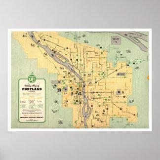 Mapa 1955 del tranvía de la carretilla de Portland Póster