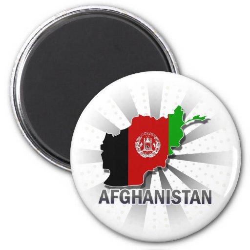 Mapa 2,0 de la bandera de Afganistán Imán Para Frigorifico