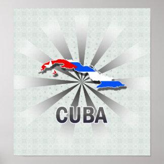 Mapa 2,0 de la bandera de Cuba Poster