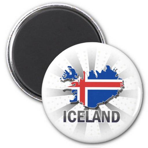 Mapa 2,0 de la bandera de Islandia Imanes Para Frigoríficos