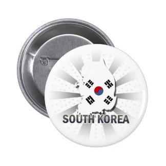 Mapa 2,0 de la bandera de la Corea del Sur Chapa Redonda De 5 Cm