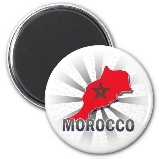 Mapa 2,0 de la bandera de Marruecos Iman Para Frigorífico