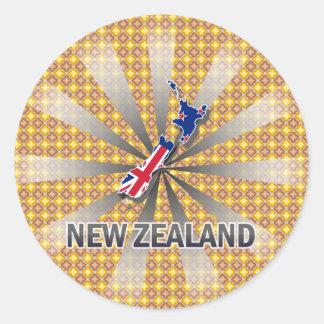 Mapa 2,0 de la bandera de Nueva Zelanda Pegatina Redonda