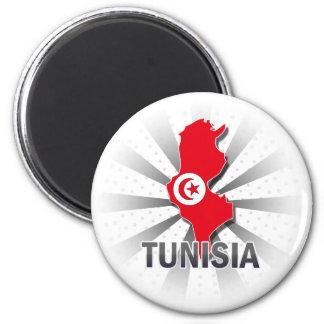 Mapa 2,0 de la bandera de Túnez Imán Redondo 5 Cm