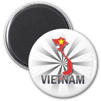 Mapa 2,0 de la bandera de Vietnam Imán Redondo 5 Cm