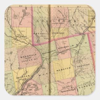 Mapa 2 de las tierras 3 de la madera pegatina cuadrada