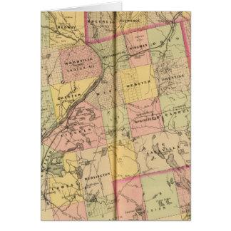 Mapa 2 de las tierras 3 de la madera tarjeta de felicitación