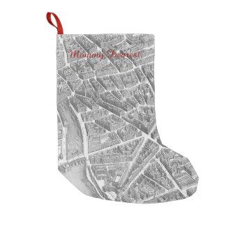 Mapa aéreo de París del vintage Calcetín De Navidad Pequeño