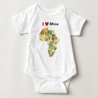 Mapa africano del safari - corazón África de I - Body Para Bebé