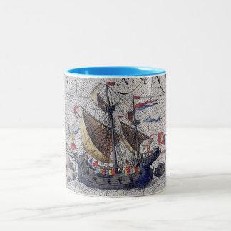 Mapa alto de la nave del Océano Pacífico Taza De Café De Dos Colores