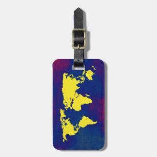 mapa amarillo del mundo etiquetas para maletas