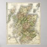 Mapa antiguo de Escocia Poster