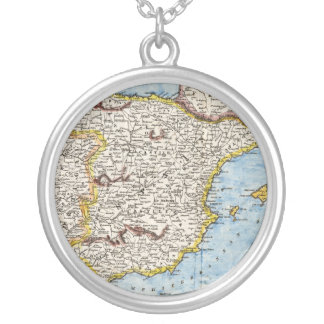 Mapa antiguo de España y de Portugal circa 1700s Collar Plateado