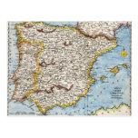Mapa antiguo de España y de Portugal circa 1700's Tarjetas Postales