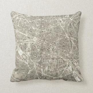 Mapa antiguo de la decoración del vintage de París Cojín Decorativo