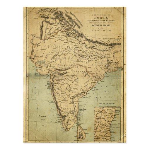 Mapa antiguo de la India en el siglo XIX Postal