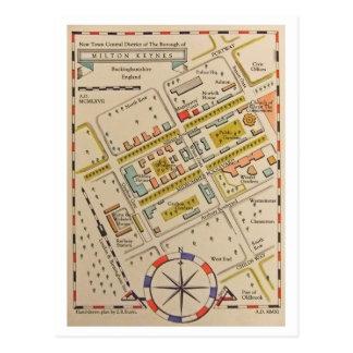 Mapa antiguo de la postal de Milton Keynes