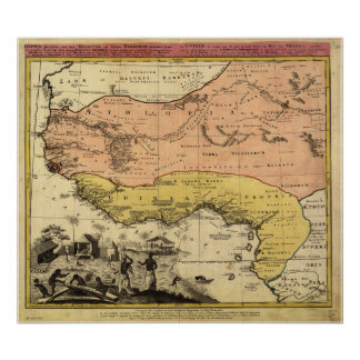Mapa antiguo de las Áfricas occidentales 1743 Póster