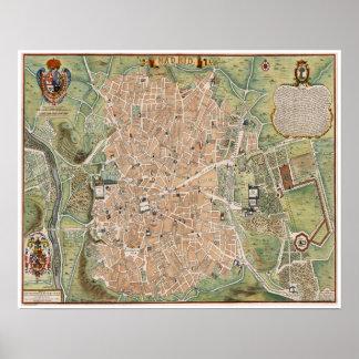 Mapa antiguo de Madrid, España Póster