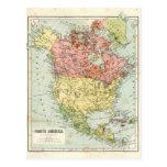 Mapa antiguo de Norteamérica Tarjetas Postales