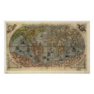 Mapa antiguo del mundo 1565 poster