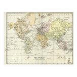 Mapa antiguo del mundo tarjetas postales