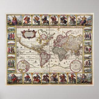 Mapa antiguo del poster de la reproducción del mun