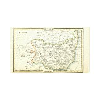 Mapa antiguo del vintage de Suffolk (Inglaterra) Lienzo