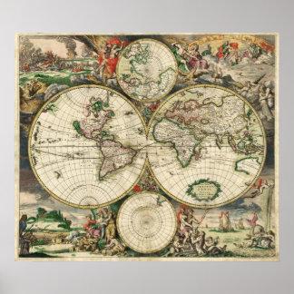 Mapa antiguo impresiones