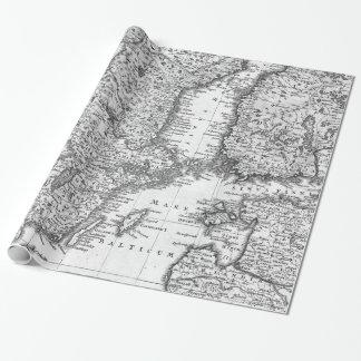 Mapa blanco y negro del papel de regalo de