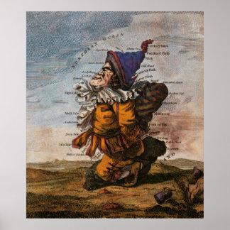 MAPA CAPRICHOSO de ESCOCIA 1794 Póster